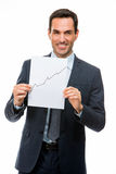 Businessman holding paper with growing chart Stock Photography