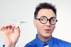 Businessman holding a paper plane in the hand Royalty Free Stock Photo