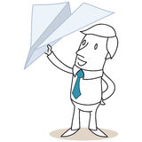 Businessman holding a paper plane. Vector illustration of a monochrome cartoon character: Businessman holding a paper plane Royalty Free Stock Images