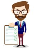 Businessman holding a paper, vector illustration Stock Photography