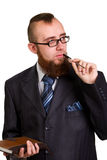 Businessman holding a pen Royalty Free Stock Photos