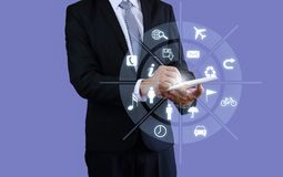 Businessman holding pen touch Holographic intelligence. royalty free stock photos