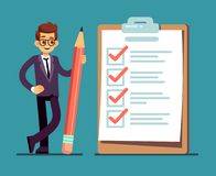 Businessman holding pencil at big complete checklist with tick marks. Business organization and achievements of goals Stock Photography