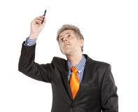 Businessman holding pencil Royalty Free Stock Image