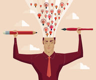 Businessman holding a pencil and a pen light eruption brain. Stock Image