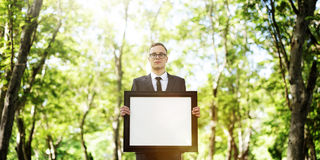 Businessman Holding Picture Frame Copy Space Concept Stock Image