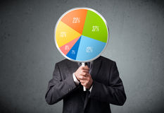 Businessman holding a pie chart Royalty Free Stock Images