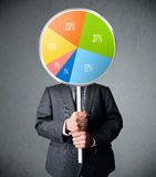 Businessman holding a pie chart Royalty Free Stock Image
