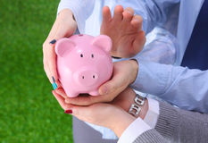 Businessman holding piggy box ,standing in office Royalty Free Stock Image