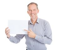 Businessman holding placard Stock Photography