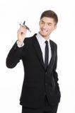 Businessman holding a plane stock photo