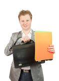 Businessman holding a poster Royalty Free Stock Photos