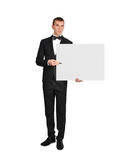 Businessman  holding poster Royalty Free Stock Photo