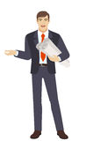 Businessman holding the project plans and gesturing Royalty Free Stock Images