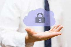 Businessman holding protected cloud, concept of  business cloud Royalty Free Stock Images
