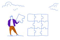 Businessman holding puzzle jigsaw part problem solution successful project finish concept horizontal sketch doodle. Vector illustration stock illustration