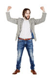 Businessman holding raised arms and hands up. emotions, facial e. Portrait businessman holding raised arms and hands up. emotions, facial expressions, feelings Stock Photos