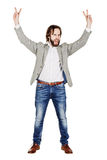 Businessman holding raised arms and hands up. emotions, facial e. Portrait businessman holding raised arms and hands up. emotions, facial expressions, feelings Stock Images