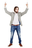 Businessman holding raised arms and hands up. emotions, facial e. Portrait businessman holding raised arms and hands up. emotions, facial expressions, feelings Royalty Free Stock Image