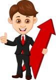 Businessman holding a red arrow. Illustration of Businessman holding a red arrow Royalty Free Stock Image