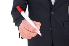 Businessman holding red felt Stock Images