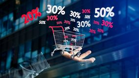 Businessman holding a Red and white Trolley and sales discount -. View of a Businessman holding a Red and white Trolley and sales discount - 3d render Stock Image