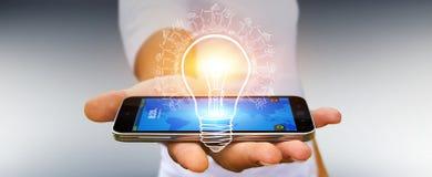 Businessman holding renewable eco lightbulb sketch stock illustration