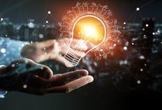 Businessman holding renewable eco lightbulb sketch Royalty Free Stock Image