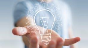 Businessman holding renewable eco lightbulb sketch Royalty Free Stock Images