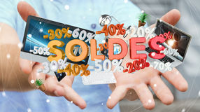 Businessman holding sales icons in his hand 3D rendering Stock Photo