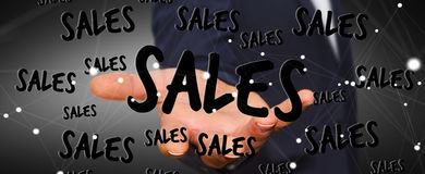 Businessman holding sales icons in his hand 3D rendering Stock Images