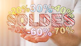 Businessman holding sales icons in his hand 3D rendering Royalty Free Stock Image