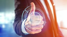 Businessman holding a Shinny technologic computer button - 3d re. View of a Businessman holding a Shinny technologic computer button - 3d render Royalty Free Stock Images