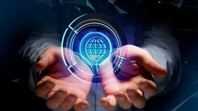 Businessman holding a Shinny technologic globe button - 3d rende. View of a Businessman holding a Shinny technologic globe button - 3d render Royalty Free Stock Photo