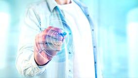 Businessman holding a Shinny technologic globe button - 3d rende. View of a Businessman holding a Shinny technologic globe button - 3d render Royalty Free Stock Image