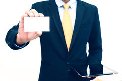 Businessman holding or showing blank business card isolate on white background Royalty Free Stock Photo