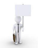 Businessman holding a sign. 3d businessman is holding a blank sign high Royalty Free Stock Photo