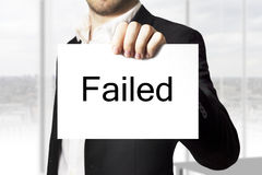 Businessman holding sign failed Royalty Free Stock Photography