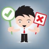 Businessman holding sign tick or cross symbol, communication concept, illustration vector in flat design Stock Image