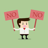 Businessman holding a signboard that say no. Business concept Royalty Free Stock Photography