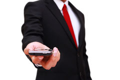 Businessman holding smart phone Stock Photo