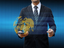 Businessman holding smartphone world social media Royalty Free Stock Photography