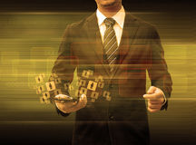 Businessman holding smartphone world technology social media Stock Photography
