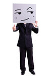 Businessman holding smile expression billboard Stock Photography