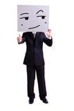 Businessman holding smile expression billboard. Businessman holding look somewhere and smile expression billboard and thumb up with isolated white background Stock Photography