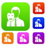 Businessman holding smile mask set color collection Stock Images