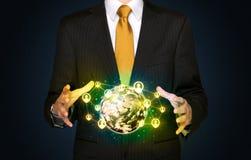 Businessman holding a social media globe Royalty Free Stock Photos