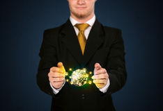 Businessman holding a social media globe Royalty Free Stock Images