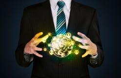 Businessman holding a social media globe Royalty Free Stock Image