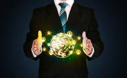Businessman holding a social media globe Stock Photography